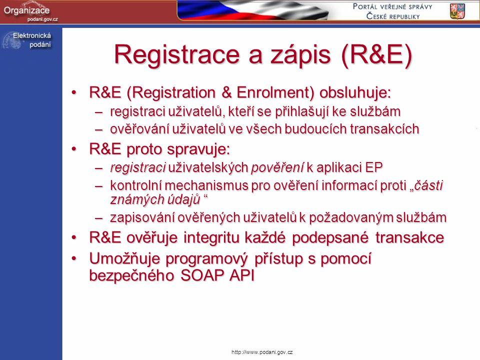 http://www.podani.gov.cz Registrace a zápis (R&E) R&E (Registration & Enrolment) obsluhuje:R&E (Registration & Enrolment) obsluhuje: –registraci uživa