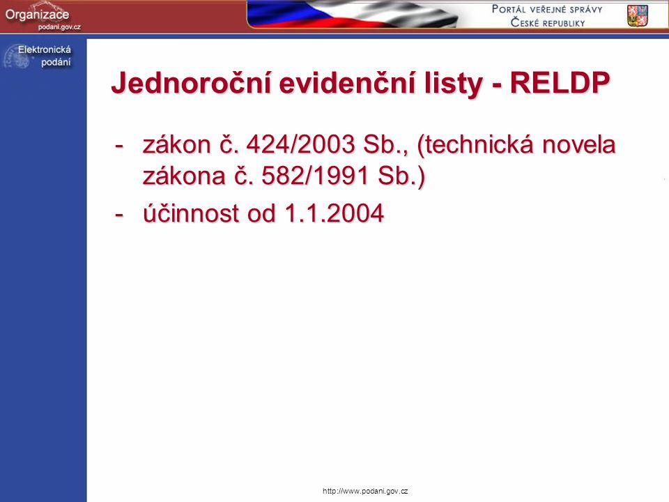 http://www.podani.gov.cz Jednoroční evidenční listy - RELDP -zákon č. 424/2003 Sb., (technická novela zákona č. 582/1991 Sb.) -účinnost od 1.1.2004