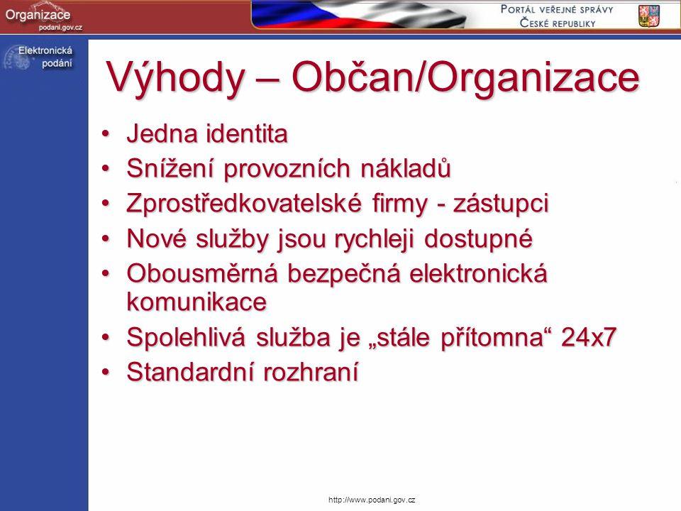 Výhody – Občan/Organizace Jedna identitaJedna identita Snížení provozních nákladůSnížení provozních nákladů Zprostředkovatelské firmy - zástupciZprost