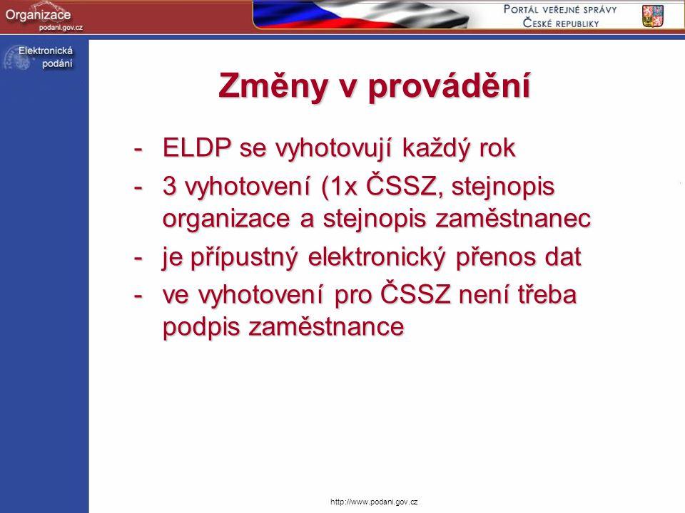 http://www.podani.gov.cz Dopady na organizace -každý rok vyhotovovat ELDP -průběžně vyhotovovat ELDP u zaměstnanců končících pracovní činnost -zajišťovat stejnopis pro zaměstnance (není předmětem řešení ELDP v ČSSZ) -archivovat stejnopis v organizaci (není předmětem řešení ELDP v ČSSZ)