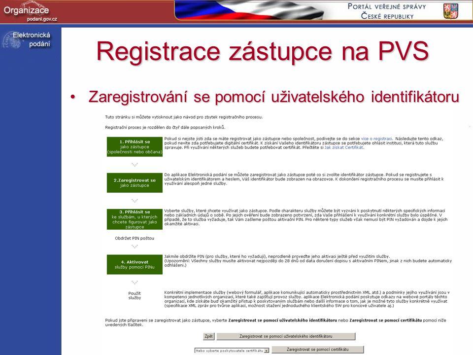 http://www.podani.gov.cz Registrace zástupce na PVS Zaregistrování se pomocí uživatelského identifikátoruZaregistrování se pomocí uživatelského identi