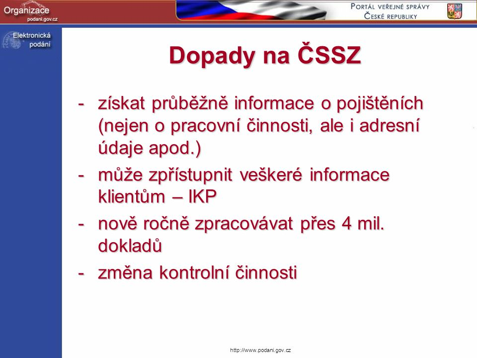 http://www.podani.gov.cz Podepisování RELDP CryptoAPI (C++)CryptoAPI (C++) // otevření úložiště certifikátů hSystemStoreHandle = CertOpenStore(CERT_STORE_PROV_SYSTEM, 0, NULL, CERT_SYSTEM_STORE_CURRENT_USER, CERTIFICATE_STORE_NAME); // nalezení podpisového certifikátu pSignerCert = CertFindCertificateInStore(hSystemStoreHandle, PKCS_7_ASN_ENCODING   X509_ASN_ENCODING, 0, CERT_FIND_SUBJECT_STR, CERT_SUBJECT_NAME, NULL); // inicializace parametrické struktury memset(&SignMessagePara, 0, sizeof(CRYPT_SIGN_MESSAGE_PARA)); SignMessagePara.cbSize = sizeof(CRYPT_SIGN_MESSAGE_PARA); SignMessagePara.HashAlgorithm.pszObjId = szOID_RSA_MD2; SignMessagePara.pSigningCert = pSignerCert; SignMessagePara.dwMsgEncodingType = PKCS_7_ASN_ENCODING   X509_ASN_ENCODING; SignMessagePara.cMsgCert = 1; SignMessagePara.rgpMsgCert = &pSignerCert; // podepsání zprávy CryptSignMessage(&SignMessagePara,FALSE, 1, rgpbToBeSigned, rgcbToBeSigned, NULL, &cbEncodedBlob)