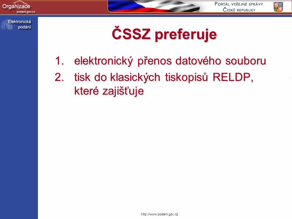 http://www.podani.gov.cz ČSSZ preferuje 1.elektronický přenos datového souboru 2.tisk do klasických tiskopisů RELDP, které zajišťuje
