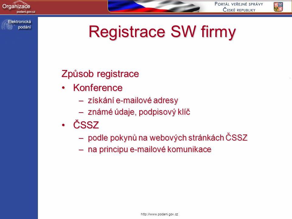 http://www.podani.gov.cz Způsob registrace KonferenceKonference –získání e-mailové adresy –známé údaje, podpisový klíč ČSSZČSSZ –podle pokynů na webov