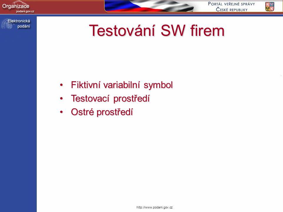 http://www.podani.gov.cz Fiktivní variabilní symbolFiktivní variabilní symbol Testovací prostředíTestovací prostředí Ostré prostředíOstré prostředí Te