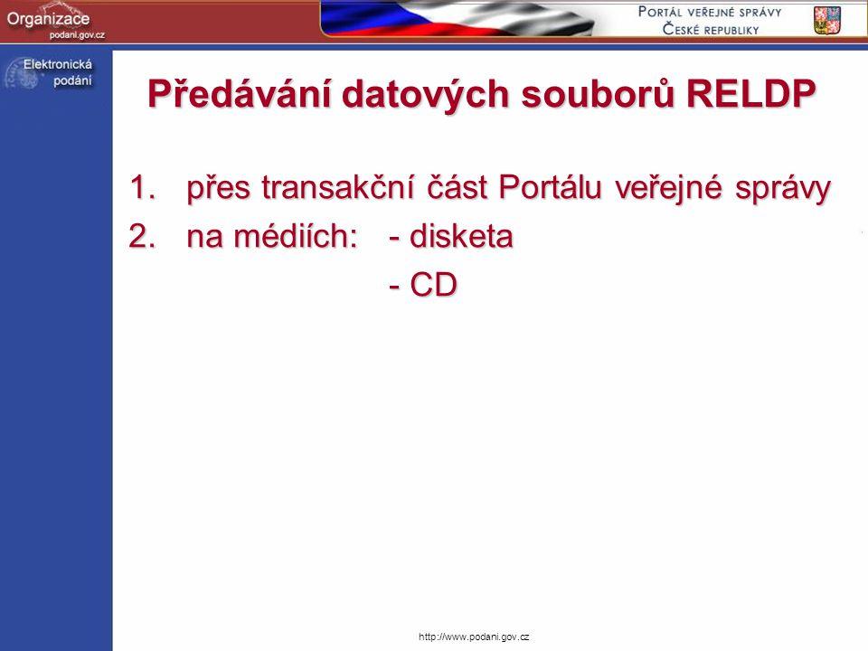 http://www.podani.gov.cz Jaké údaje aplikace EP požaduje.