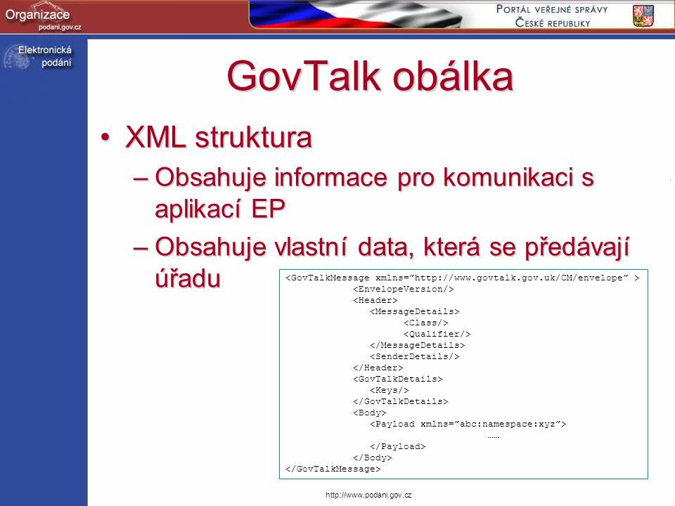 http://www.podani.gov.cz GovTalk obálka XML strukturaXML struktura –Obsahuje informace pro komunikaci s aplikací EP –Obsahuje vlastní data, která se p