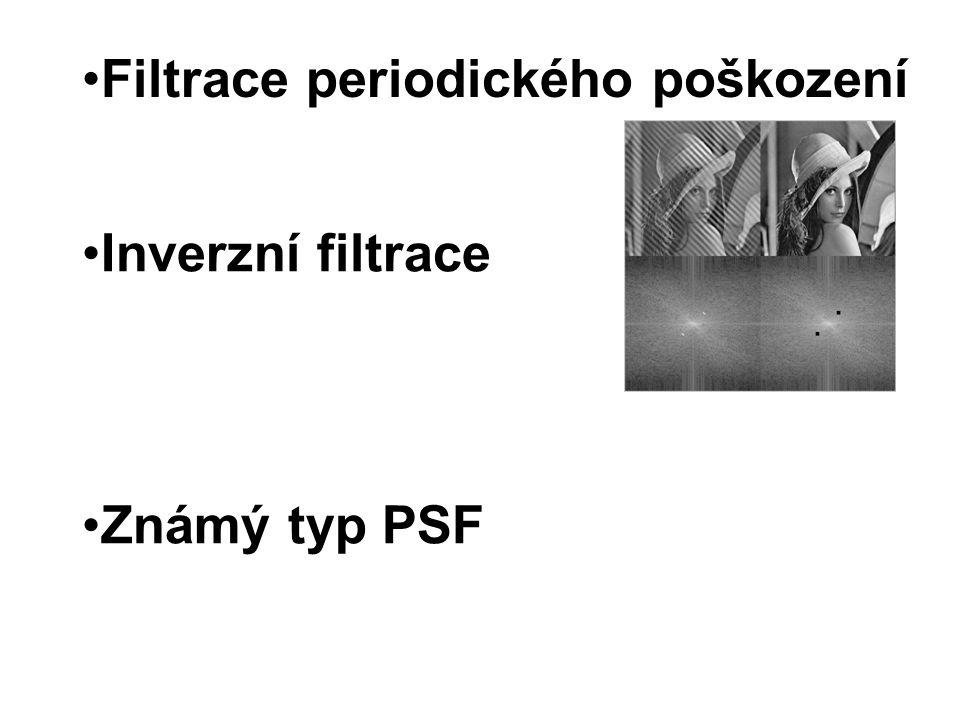 Filtrace periodického poškození Inverzní filtrace Známý typ PSF
