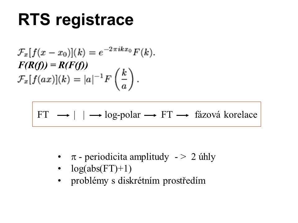 RTS registrace F(R(f)) = R(F(f))  - periodicita amplitudy - > 2 úhly log(abs(FT)+1) problémy s diskrétním prostředím FT | | log-polar FT fázová korel