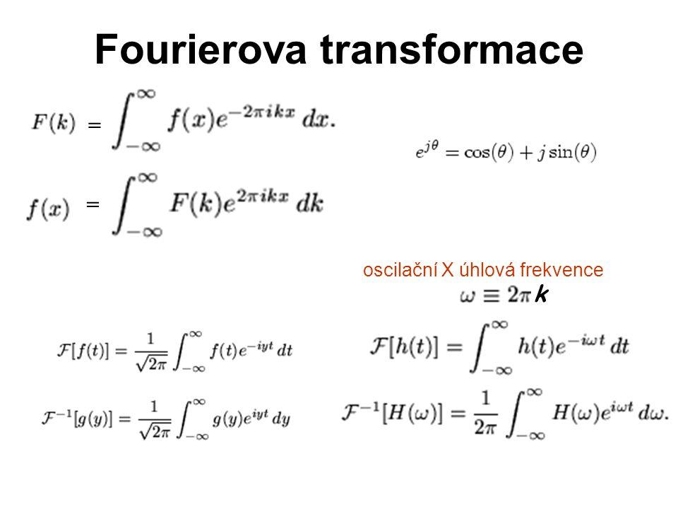 Fourierova transformace = = oscilační X úhlová frekvence k
