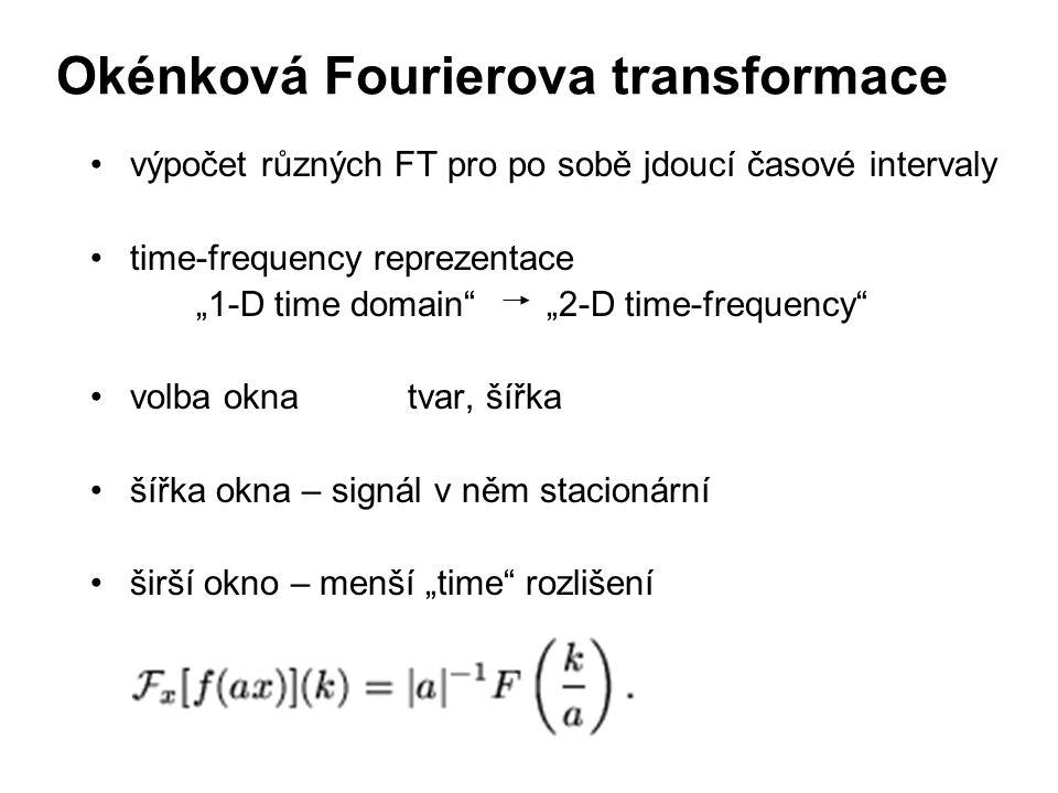"""výpočet různých FT pro po sobě jdoucí časové intervaly time-frequency reprezentace """"1-D time domain"""" """"2-D time-frequency"""" volba oknatvar, šířka šířka"""