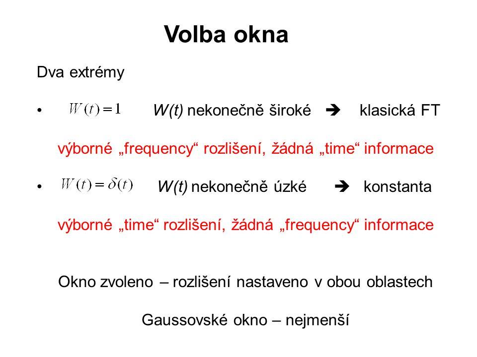 """Dva extrémy W(t) nekonečně široké  klasická FT výborné """"frequency"""" rozlišení, žádná """"time"""" informace W(t) nekonečně úzké  konstanta výborné """"time"""" r"""