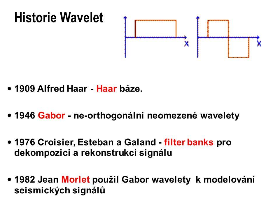 Historie Wavelet  1909 Alfred Haar- Haar báze.  1946Gabor - ne-orthogonální neomezené wavelety  1976 Croisier, Esteban a Galand- filter banks pro d
