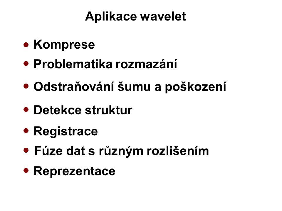 Aplikace wavelet Komprese Odstraňování šumu a poškození Detekce struktur Problematika rozmazání Registrace Reprezentace Fúze dat s různým rozlišením