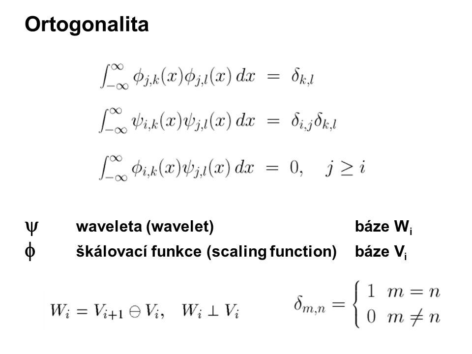 Ortogonalita  waveleta (wavelet)báze W i  škálovací funkce (scaling function)báze V i