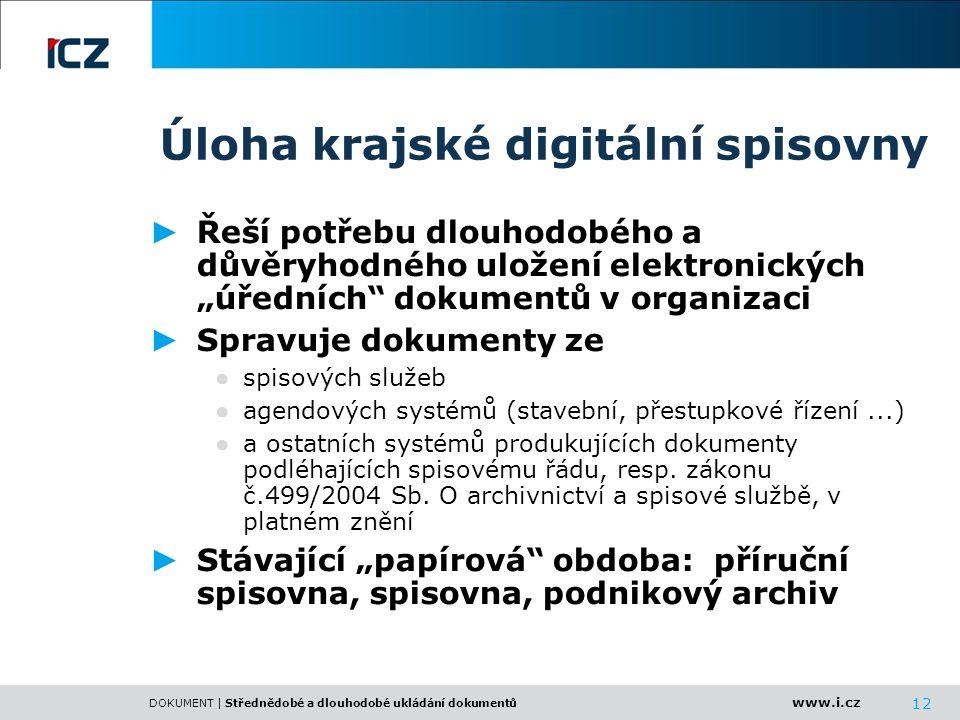 www.i.cz DOKUMENT | Střednědobé a dlouhodobé ukládání dokumentů 12 Úloha krajské digitální spisovny ► Řeší potřebu dlouhodobého a důvěryhodného uložen