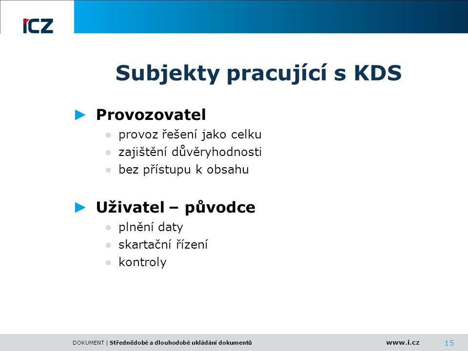 www.i.cz DOKUMENT | Střednědobé a dlouhodobé ukládání dokumentů 15 Subjekty pracující s KDS ► Provozovatel ● provoz řešení jako celku ● zajištění důvě