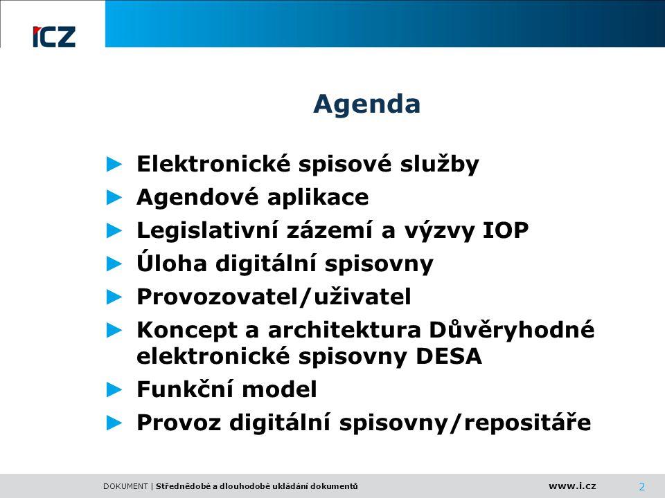 www.i.cz DOKUMENT | Střednědobé a dlouhodobé ukládání dokumentů 2 Agenda ► Elektronické spisové služby ► Agendové aplikace ► Legislativní zázemí a výz