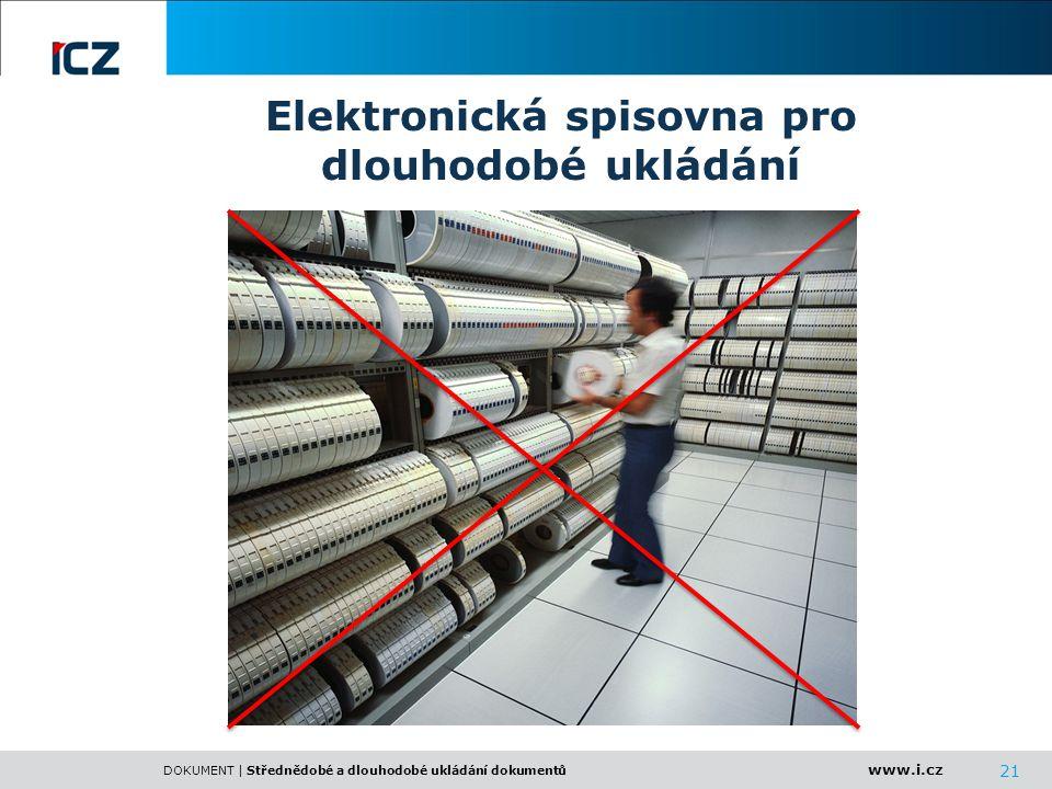 www.i.cz DOKUMENT | Střednědobé a dlouhodobé ukládání dokumentů 21 Elektronická spisovna pro dlouhodobé ukládání