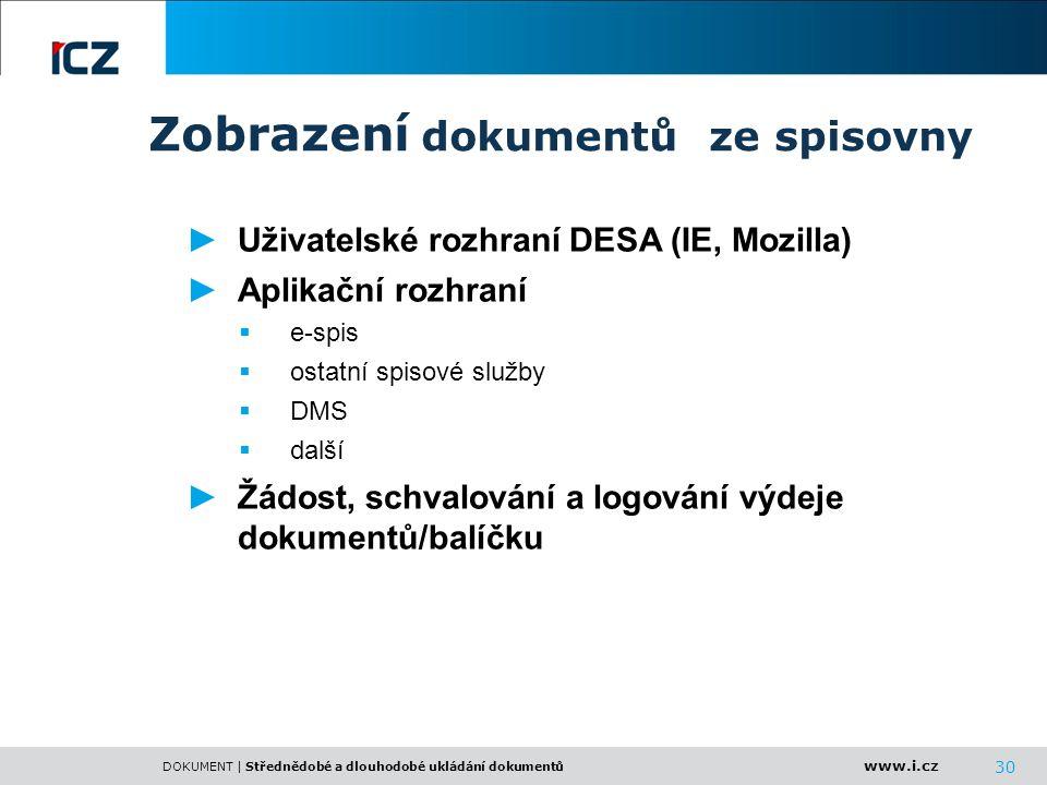 www.i.cz DOKUMENT | Střednědobé a dlouhodobé ukládání dokumentů 30 ►Uživatelské rozhraní DESA (IE, Mozilla) ►Aplikační rozhraní  e-spis  ostatní spi