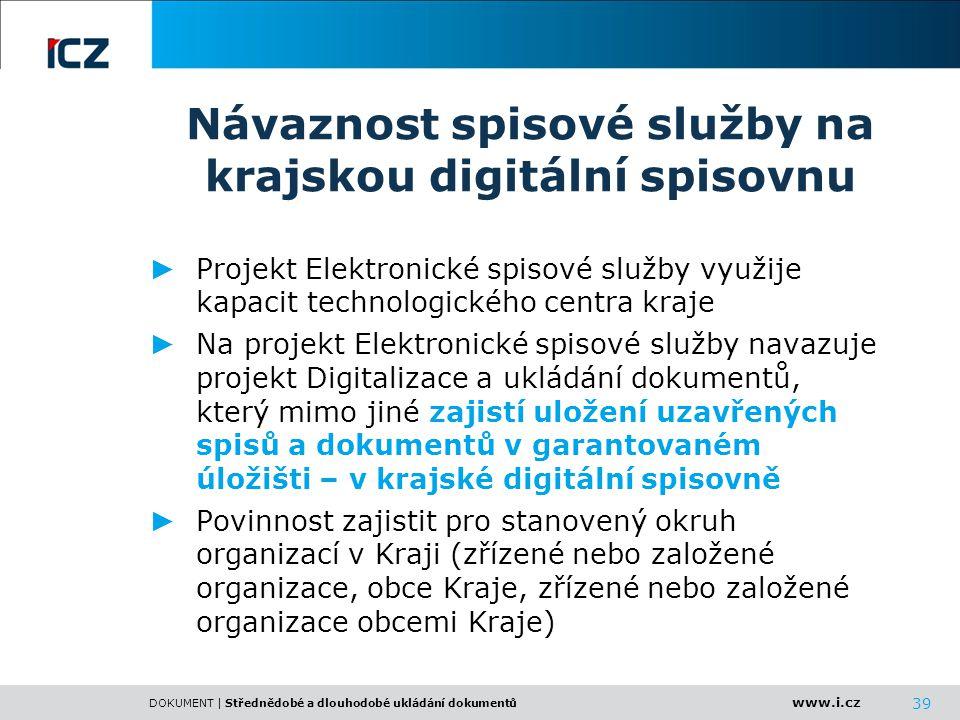 www.i.cz DOKUMENT | Střednědobé a dlouhodobé ukládání dokumentů 39 Návaznost spisové služby na krajskou digitální spisovnu ► Projekt Elektronické spis