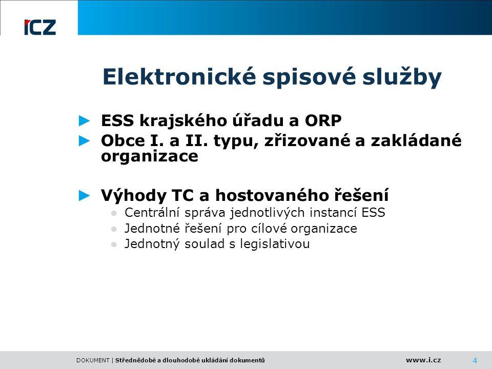 www.i.cz DOKUMENT | Střednědobé a dlouhodobé ukládání dokumentů 4 Elektronické spisové služby ► ESS krajského úřadu a ORP ► Obce I. a II. typu, zřizov
