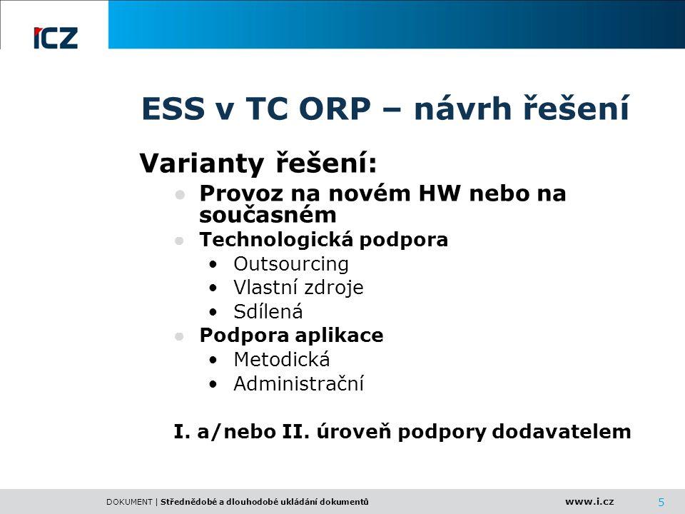 www.i.cz DOKUMENT | Střednědobé a dlouhodobé ukládání dokumentů 5 ESS v TC ORP – návrh řešení Varianty řešení: ● Provoz na novém HW nebo na současném
