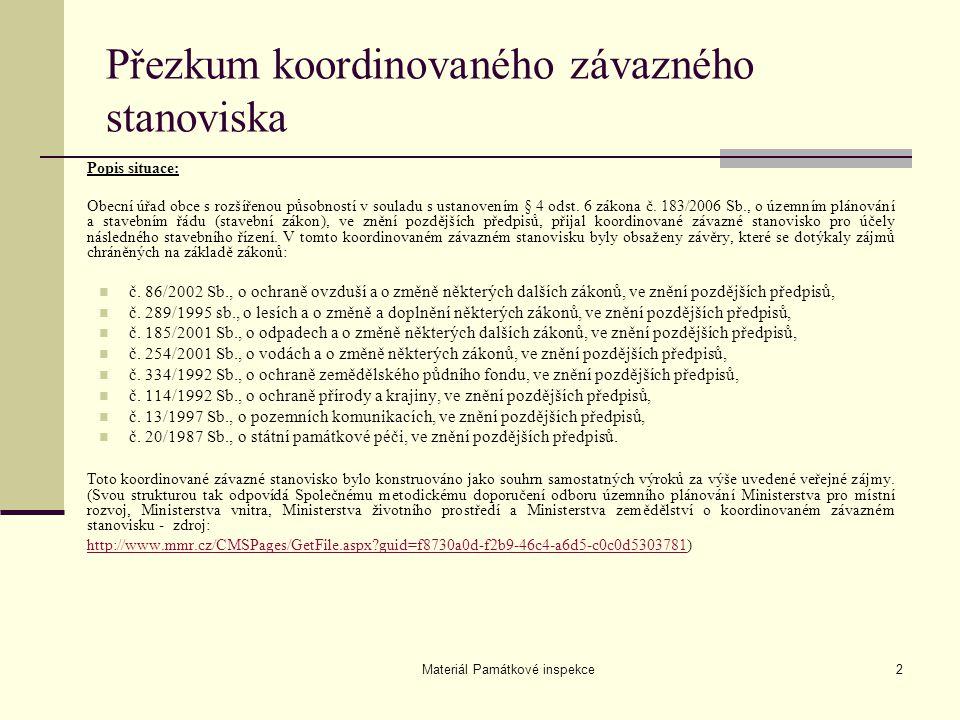 Materiál Památkové inspekce2 Popis situace: Obecní úřad obce s rozšířenou působností v souladu s ustanovením § 4 odst. 6 zákona č. 183/2006 Sb., o úze