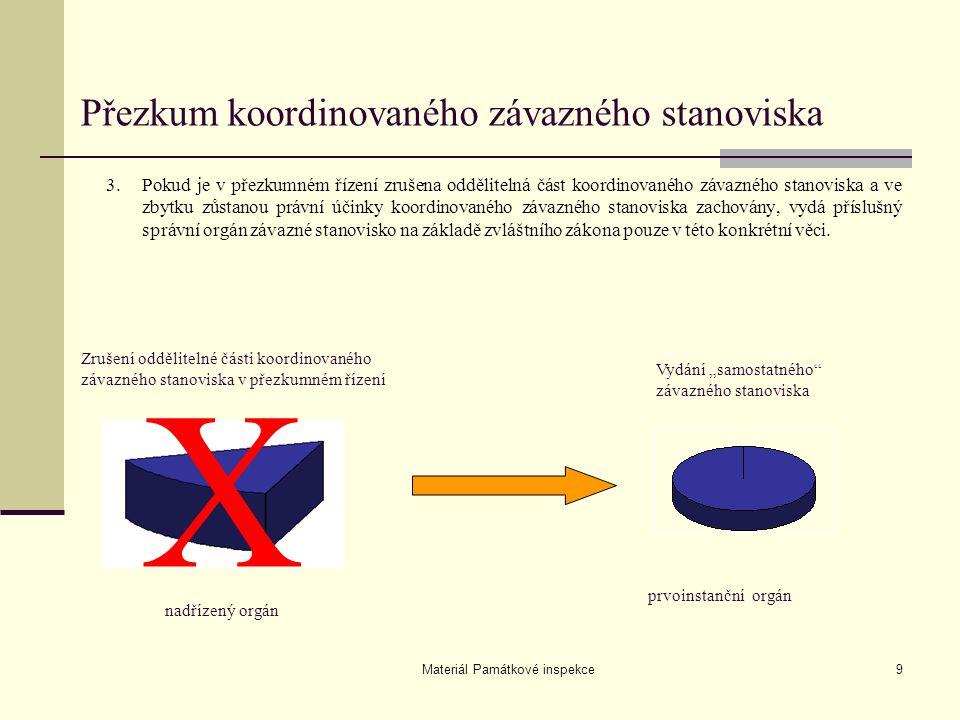 Materiál Památkové inspekce9 3.Pokud je v přezkumném řízení zrušena oddělitelná část koordinovaného závazného stanoviska a ve zbytku zůstanou právní ú