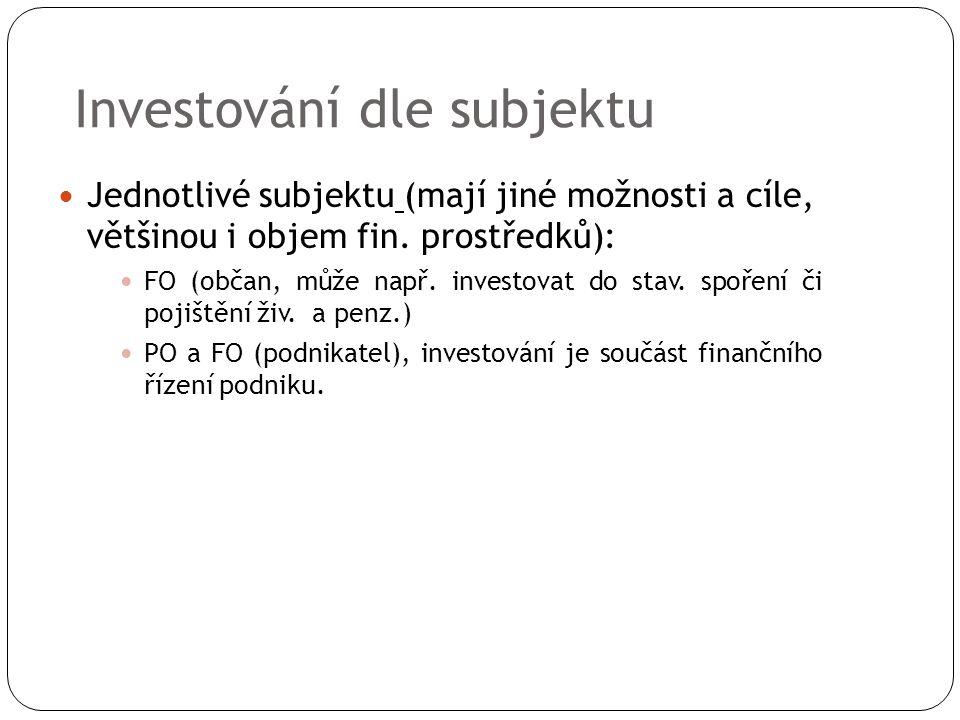 Investování dle subjektu Jednotlivé subjektu (mají jiné možnosti a cíle, většinou i objem fin.
