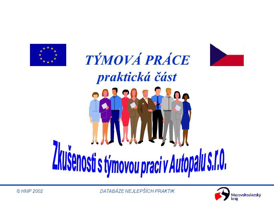 © HMP 2002 DATABÁZE NEJLEPŠÍCH PRAKTIK TÝMOVÁ PRÁCE praktická část