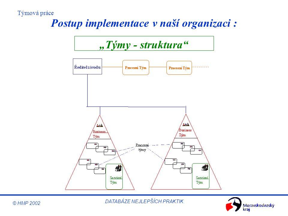 """© HMP 2002 Týmová práce DATABÁZE NEJLEPŠÍCH PRAKTIK """"Týmy - struktura"""" Postup implementace v naší organizaci :"""