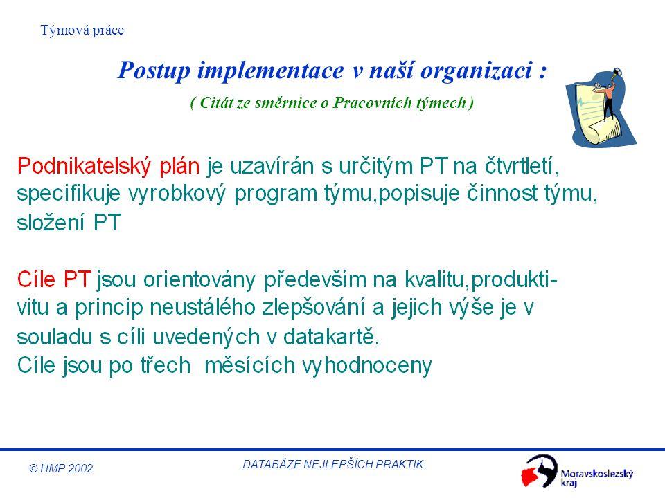 © HMP 2002 Týmová práce DATABÁZE NEJLEPŠÍCH PRAKTIK Postup implementace v naší organizaci : ( Citát ze směrnice o Pracovních týmech )