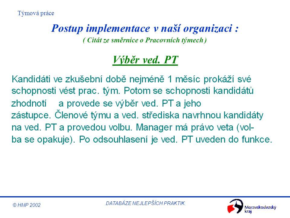 © HMP 2002 Týmová práce DATABÁZE NEJLEPŠÍCH PRAKTIK Výběr ved. PT Postup implementace v naší organizaci : ( Citát ze směrnice o Pracovních týmech )