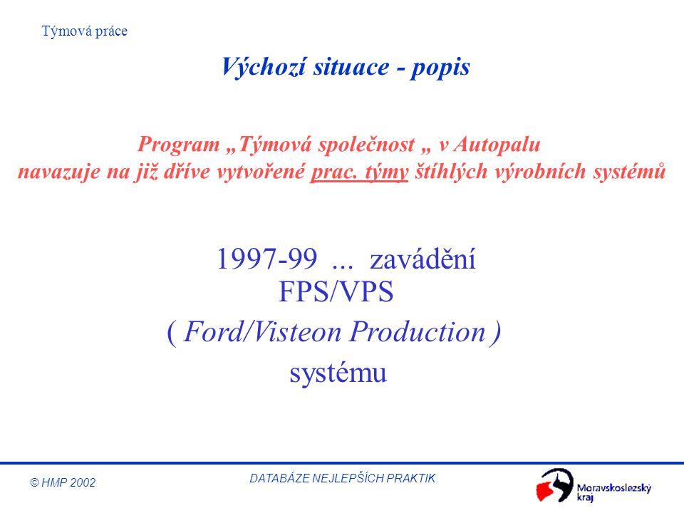 """© HMP 2002 Týmová práce DATABÁZE NEJLEPŠÍCH PRAKTIK Výchozí situace - popis 1997-99... zavádění FPS/VPS ( Ford/Visteon Production ) systému Program """"T"""
