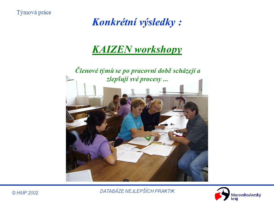 © HMP 2002 Týmová práce DATABÁZE NEJLEPŠÍCH PRAKTIK Konkrétní výsledky : Členové týmů se po pracovní době scházejí a zlepšují své procesy... KAIZEN wo