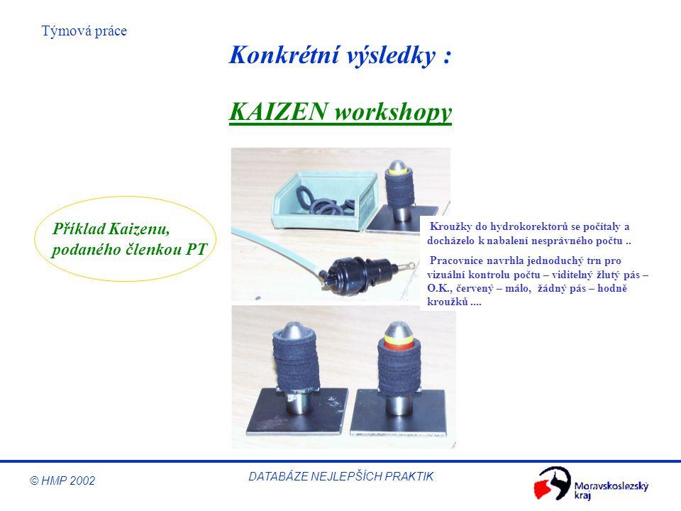 © HMP 2002 Týmová práce DATABÁZE NEJLEPŠÍCH PRAKTIK KAIZEN workshopy Kroužky do hydrokorektorů se počítaly a docházelo k nabalení nesprávného počtu..
