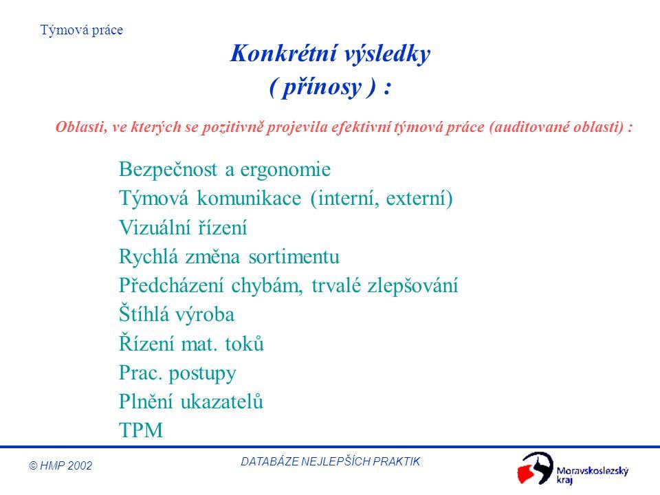 © HMP 2002 Týmová práce DATABÁZE NEJLEPŠÍCH PRAKTIK ( přínosy ) : Bezpečnost a ergonomie Týmová komunikace (interní, externí) Vizuální řízení Rychlá z