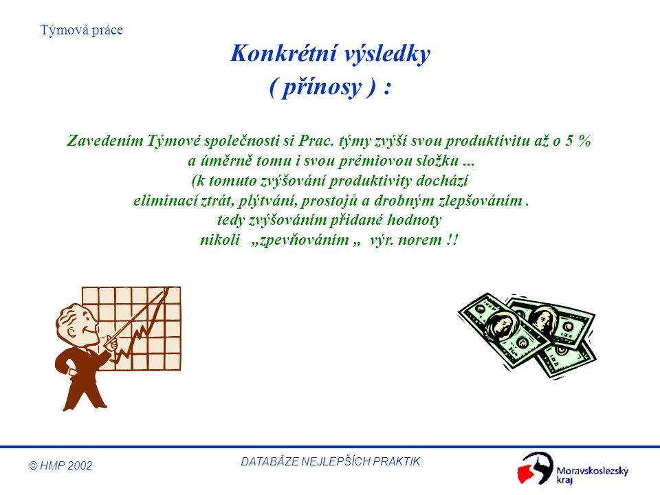 © HMP 2002 Týmová práce DATABÁZE NEJLEPŠÍCH PRAKTIK Zavedením Týmové společnosti si Prac. týmy zvýší svou produktivitu až o 5 % a úměrně tomu i svou p