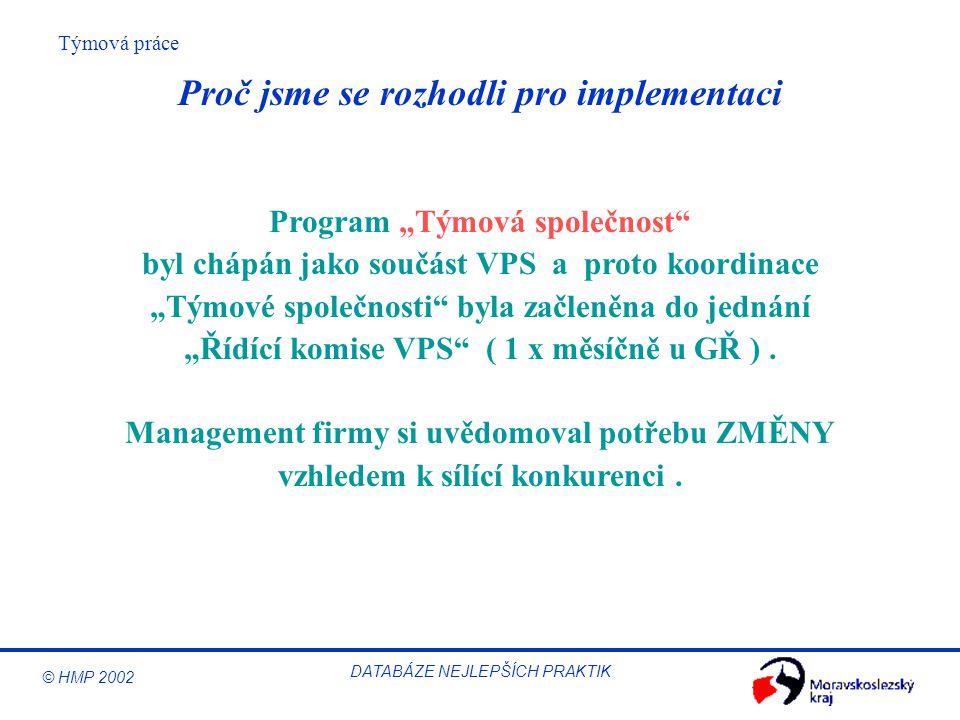 """© HMP 2002 Týmová práce DATABÁZE NEJLEPŠÍCH PRAKTIK Proč jsme se rozhodli pro implementaci Program """"Týmová společnost"""" byl chápán jako součást VPS a p"""