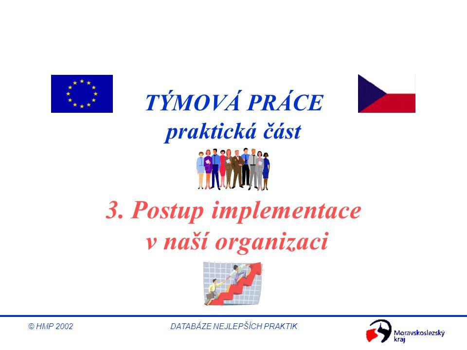 © HMP 2002 DATABÁZE NEJLEPŠÍCH PRAKTIK 3. Postup implementace v naší organizaci TÝMOVÁ PRÁCE praktická část