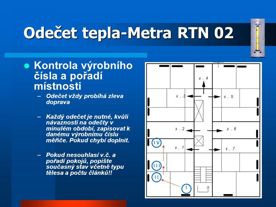 Odečet tepla-Metra RTN 02 Kontrola výrobního čísla a pořadí místnosti –Odečet vždy probíhá zleva doprava –Každý odečet je nutné, kvůli návaznosti na odečty v minulém období, zapisovat k danému výrobnímu číslu měřiče.