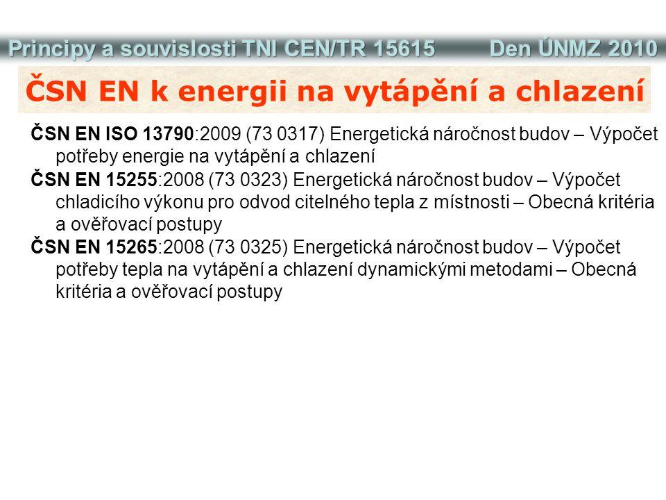 ČSN EN k energii na vytápění a chlazení ČSN EN ISO 13790:2009 (73 0317) Energetická náročnost budov – Výpočet potřeby energie na vytápění a chlazení Č
