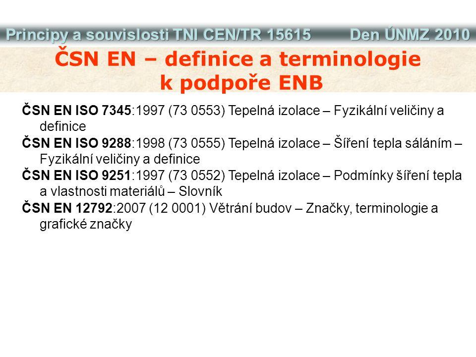 ČSN EN – definice a terminologie k podpoře ENB ČSN EN ISO 7345:1997 (73 0553) Tepelná izolace – Fyzikální veličiny a definice ČSN EN ISO 9288:1998 (73