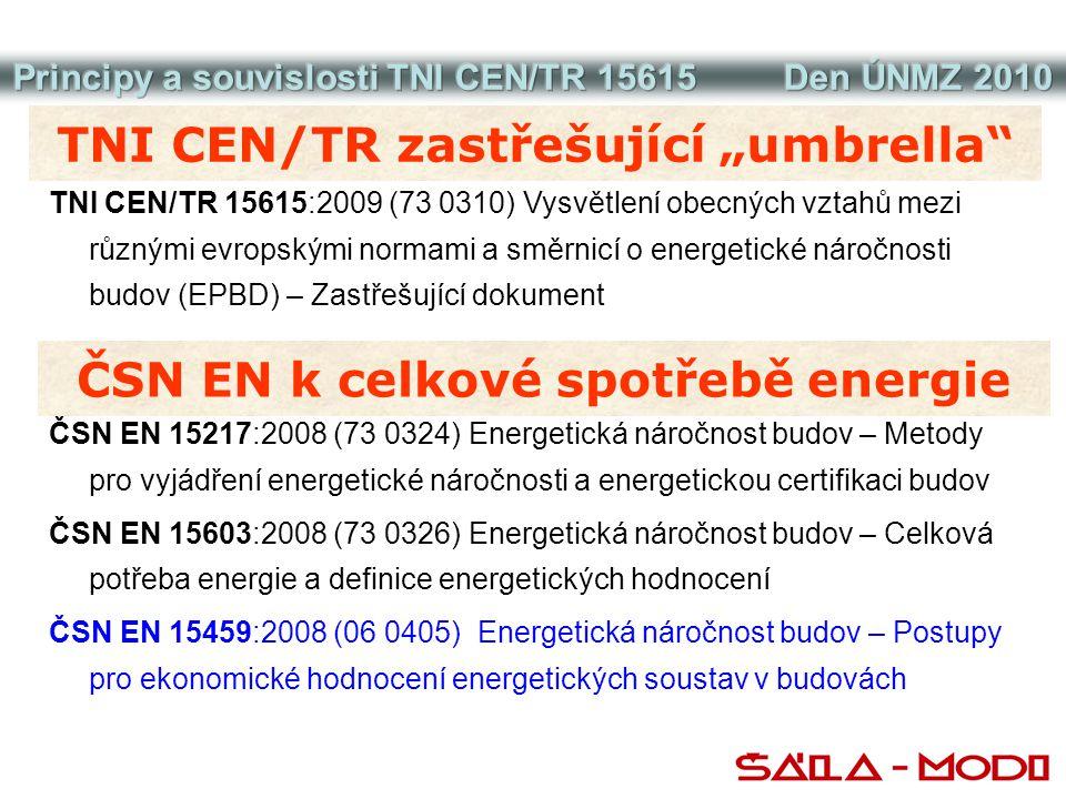 ČSN EN k celkové spotřebě energie ČSN EN 15217:2008 (73 0324) Energetická náročnost budov – Metody pro vyjádření energetické náročnosti a energetickou