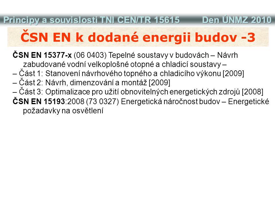 ČSN EN k energii na vytápění a chlazení ČSN EN ISO 13790:2009 (73 0317) Energetická náročnost budov – Výpočet potřeby energie na vytápění a chlazení ČSN EN 15255:2008 (73 0323) Energetická náročnost budov – Výpočet chladicího výkonu pro odvod citelného tepla z místnosti – Obecná kritéria a ověřovací postupy ČSN EN 15265:2008 (73 0325) Energetická náročnost budov – Výpočet potřeby tepla na vytápění a chlazení dynamickými metodami – Obecná kritéria a ověřovací postupy