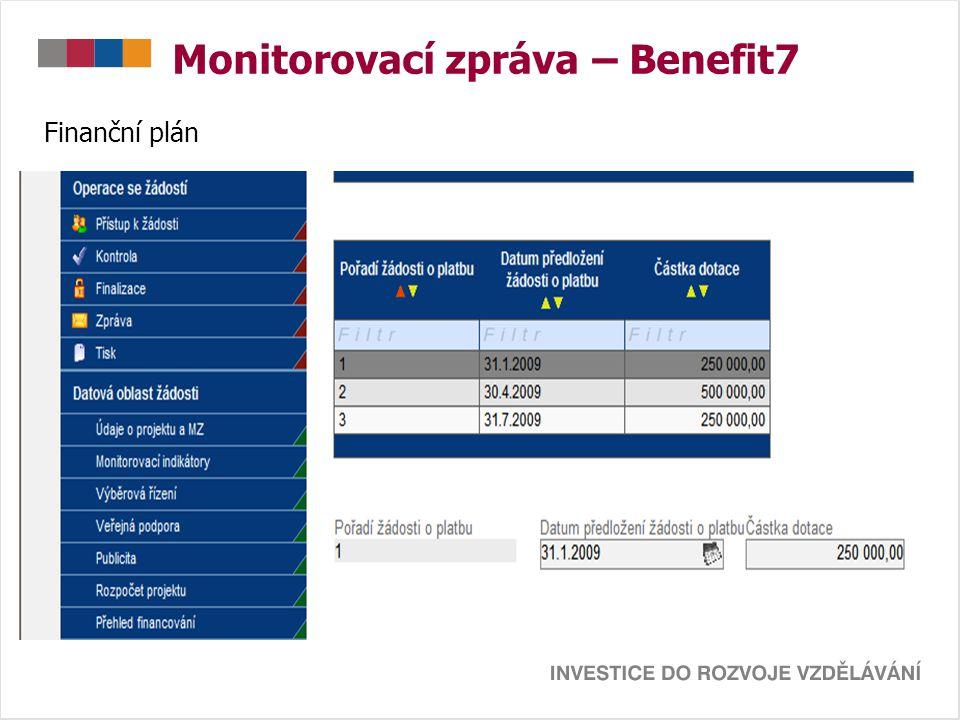 Monitorovací zpráva – Benefit7 Finanční plán