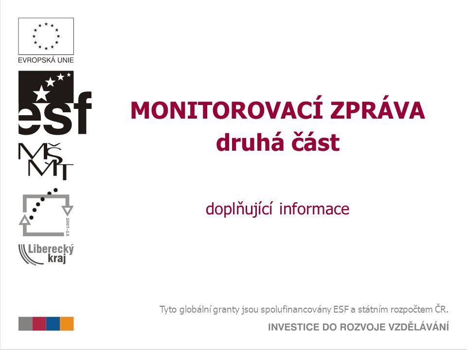 MONITOROVACÍ ZPRÁVA druhá část doplňující informace Tyto globální granty jsou spolufinancovány ESF a státním rozpočtem ČR.