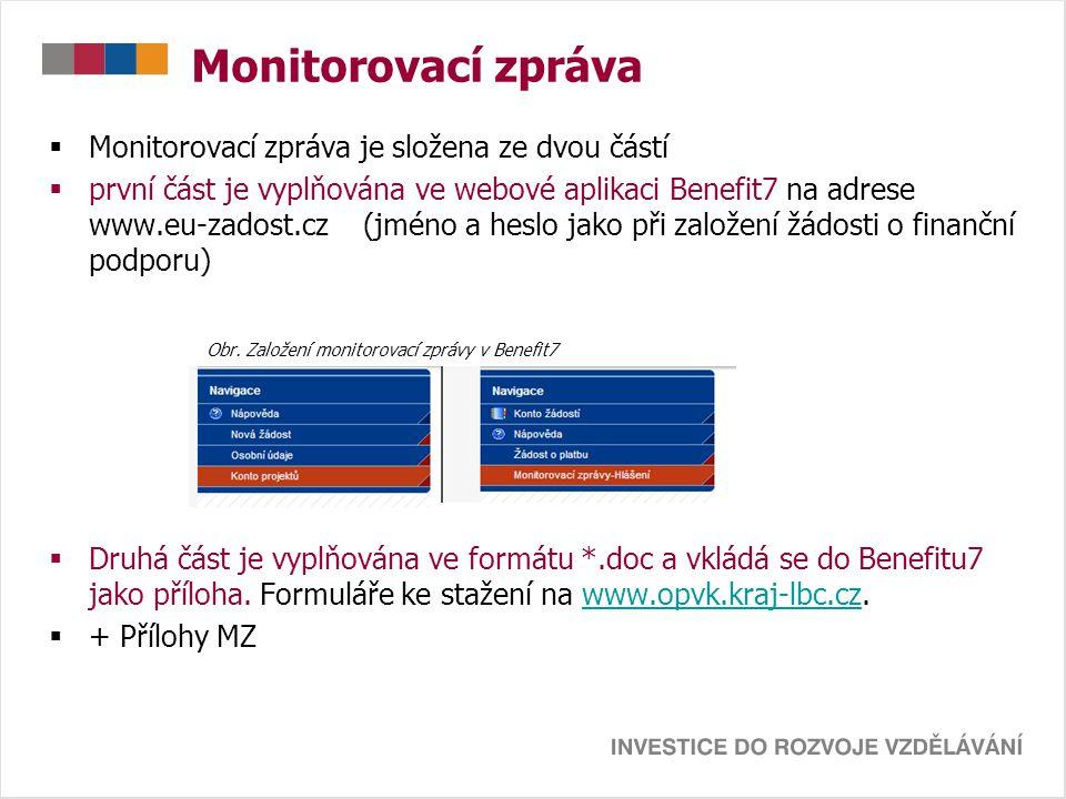 Monitorovací zpráva – Benefit7 Harmonogram aktivit