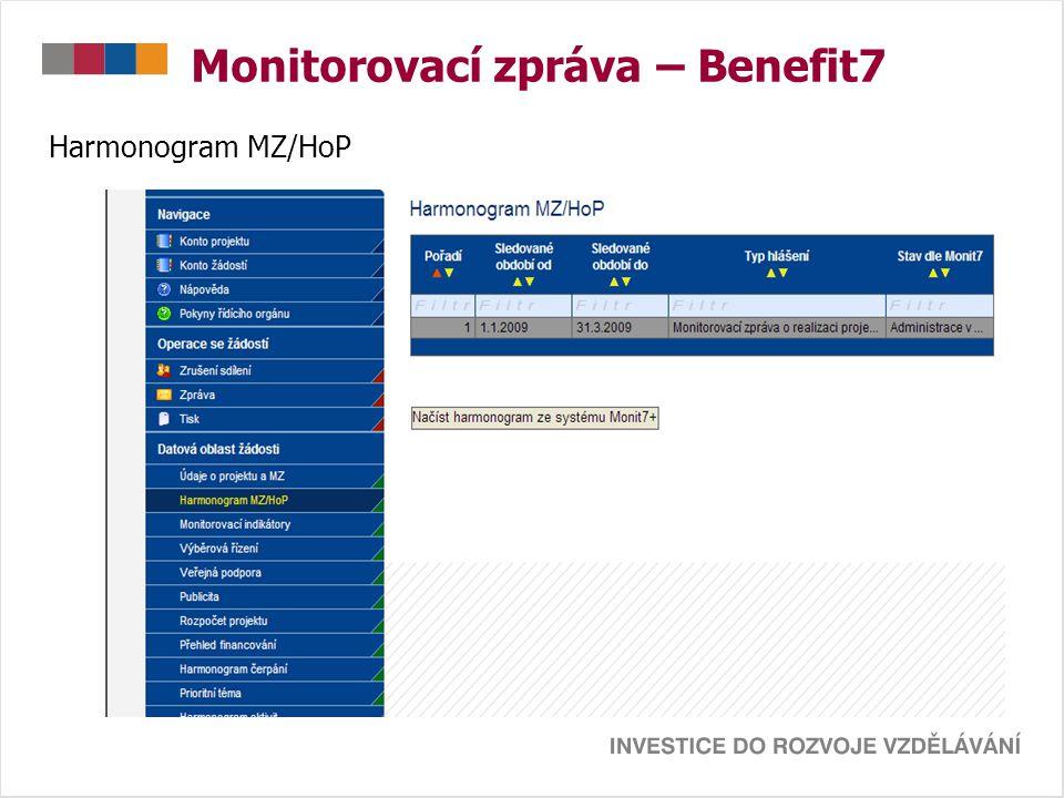 Monitorovací zpráva – Benefit7 Harmonogram MZ/HoP